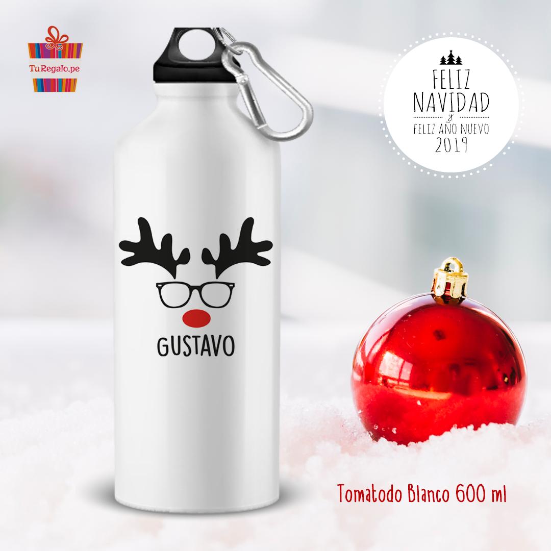 1bb502e6b Tomatodo Blanco 600ml. Navideño Personalizado COD N-014 - Tu Regalo